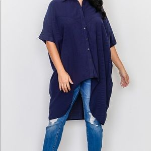 Tops - New Plus Size Navy High Low Button Down Blouse